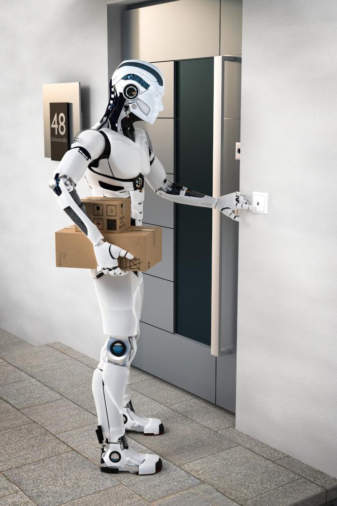 3D Illustration Roboter Lieferdiesnt