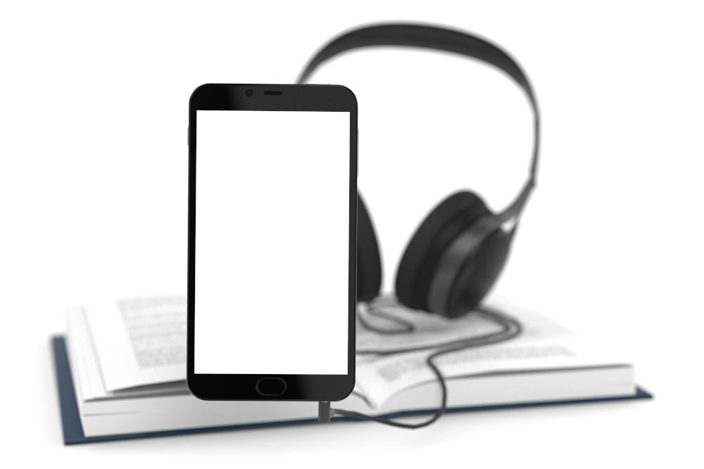3D Illustration Smartphone Buch und Kopfhörer