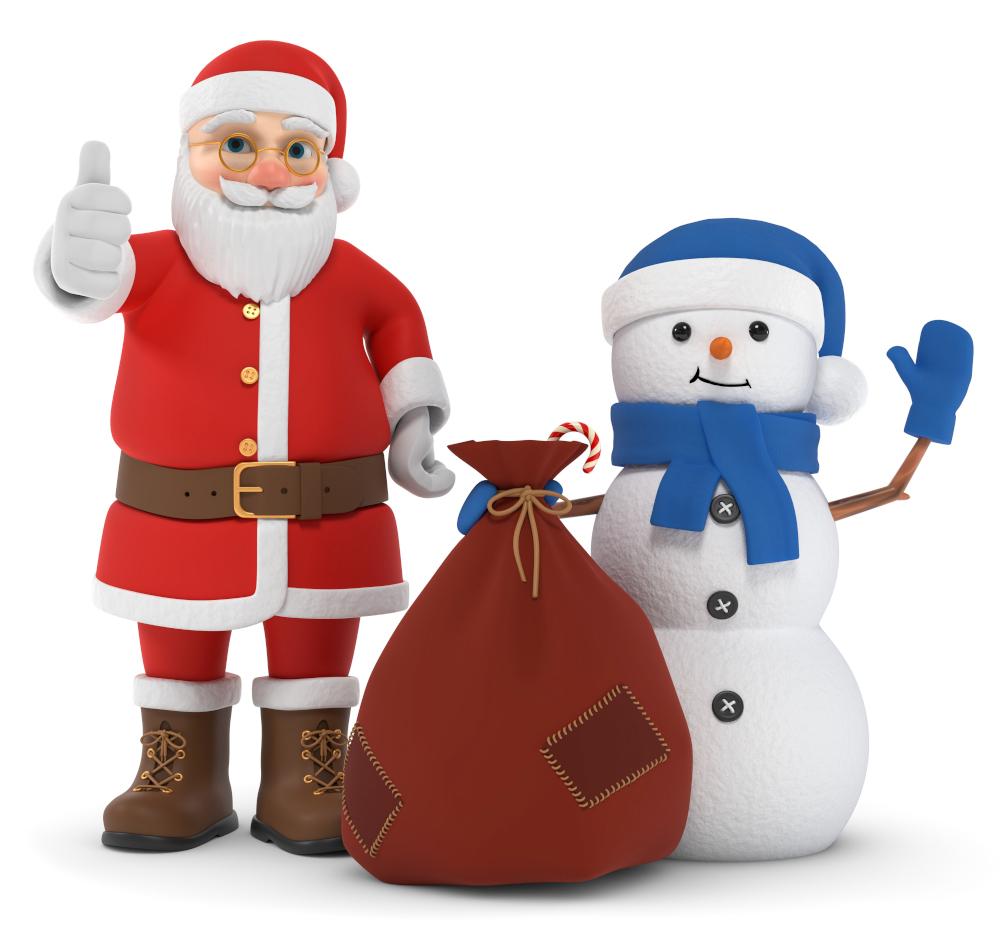 3D Illustration Weihnachtsmann mit Schnemann Begrüßung