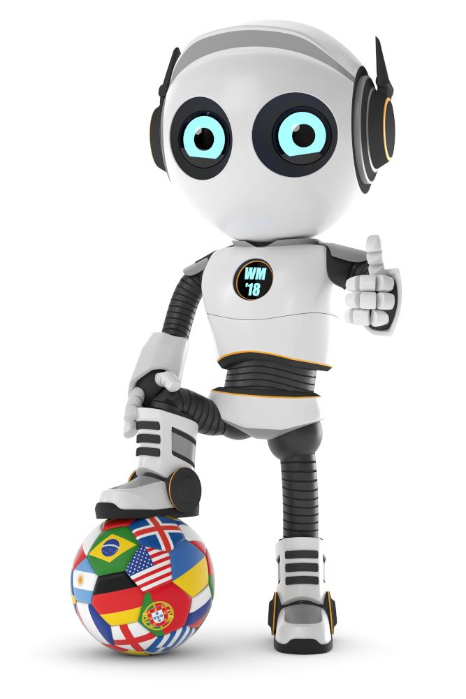 3d Roboter mit WM Fußball
