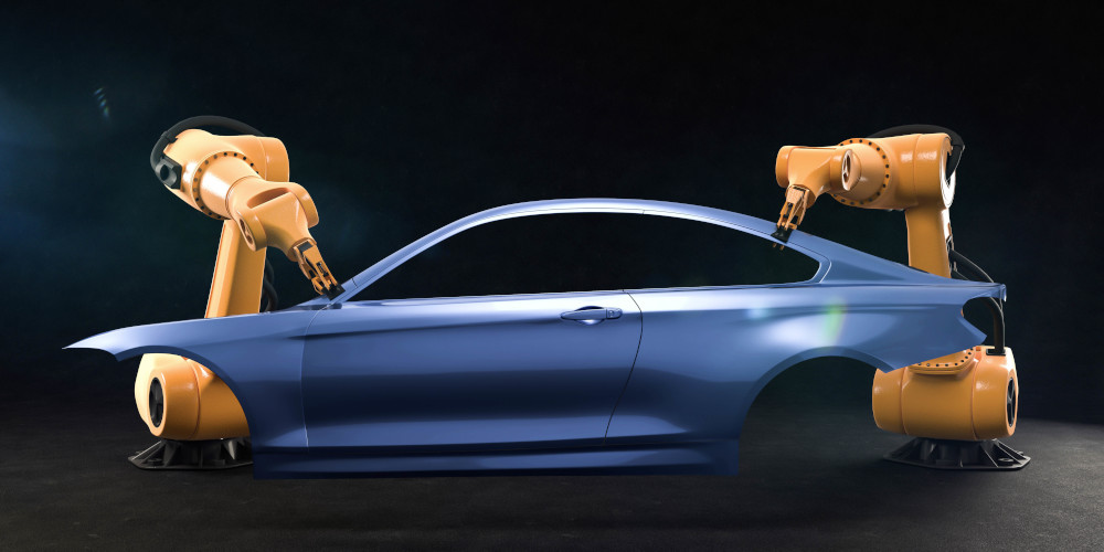 Autoteile Zusammenbau durch Industrieroboter