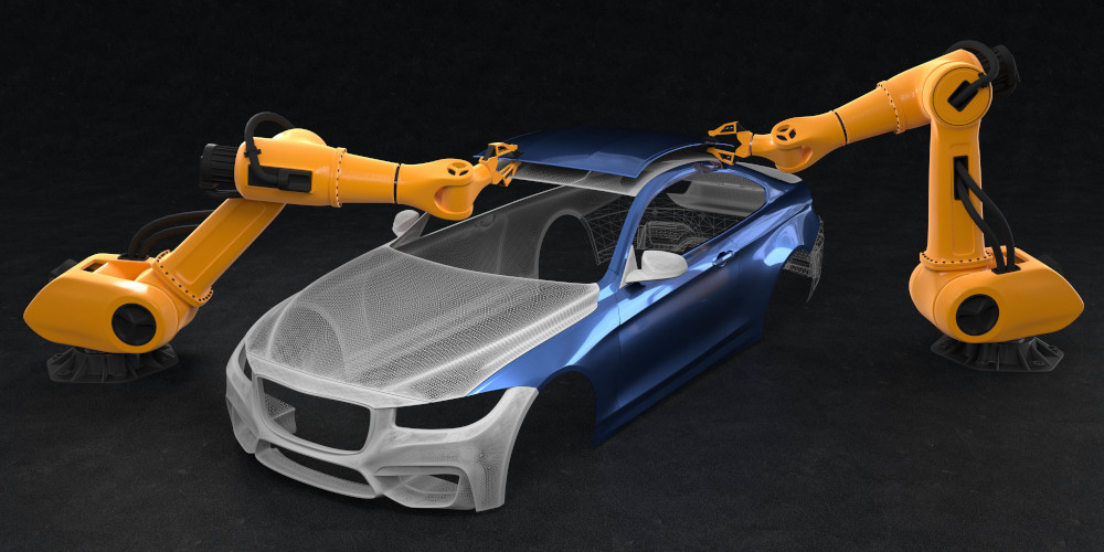Autozusammenbau durch Industrieroboter